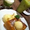 Toast กับ ชาเขียวร้อนและเย็น