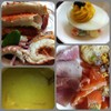 Lentil soup, Alaska King Crab, Maine Lobster, Salmon, Cold cut