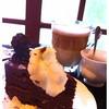 Chocolate Cake & Hot Cappu & Rose Tea