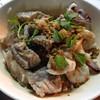 ข้าวต้มปลาแห้งราดน้ำบะเต็ง(ปลาเก๋าหนังๆ&กุ้ง)