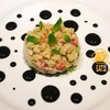 Insalatadi granchio ปูอลาสก้า ใส่กับ zucciniและมินท์ตัวซอสทำจากหมึกดำ