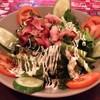 สลัดเบคอนทอด+ปวยเล้งสด (Horenso becon salad) 120B