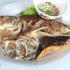 ปลากระพงราดน้ำปลา 250 บาท