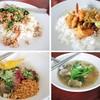 กะเพราหมูสับ, ผัดพริกเผากุ้ง, บะหมี่แห้งหมูแดง และก๋วยเตี๋ยวปลาอินทรีย์