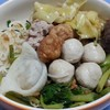 Medium Rice Noodle with Fish Ball in Pink Soup