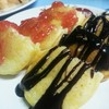 pancake with choco + straw 🍓