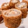 หมูพันเห็ดเข็มทองชีสชุบเกร็ดขนมปังทอด (Enoki Pork Roll) (80.-)