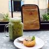 🍇🍰 Mini bluberry cream cheese. & Iced green tea latte.