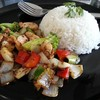 ข้าวไก่ผัดพริกไทยดำ (50 บาท)