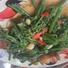 ผัดผักแม้วหมูกรอบบ อร่อยยย