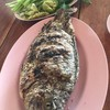 ปลาเผาพร้อมผักลวก