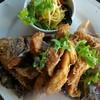 ปลาทับทิมทอดน้ำปลา ทานกับน้ำจิ้มยำมะม่วง