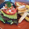 Broccoli quinoa charcoal burger with frenchfries