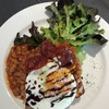 ราคา220บาท+  Chorizo, spicy baked beans, egg, caramelized balsamic vinegar and