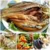 ปลากระพงทอดน้ำปลา , กันเชียงปูนึ่ง , ผัดผักรวม , รวมทะเลเผา