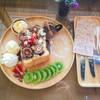 โทสต์กรอปๆ ด้านในชุ่มด้วยช๊อคโกแลต ทานกับไอศครีมวานิลา บวกกีบผลไม้สดๆ