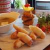 เซ็ตอาหารยุโรปมี ฟิต&ชิพ(ปลาชุปแป้งทอด)+ซุปหัวหอม+ปอเปี๊ยะใส้แฮมและชีส