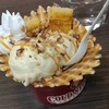 Sundaeที่ครีมอร่อยดี กล้วยเผาน้ำตาลใช้ได้ วาฟเฟิลหอมหวานอ่อนๆ