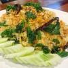 ผัดกะเพรากุ้งสับคลุกข้าว โรยหน้าด้วย ปลาเค็ม กุ้งแห้ง กระเทียม พริก ใบกะเพรากรอบ