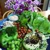 Kale, avocado, sesame, broccoli, butterhead lettuce, cucumber
