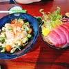 salmon Avocado salad, Tuna sashimi