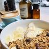 Hot granola bowl + cold espresso