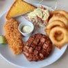 สเต็กหมูพริกไทยดำ + สเต็กปลาทอด