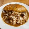 ข้าวห่อไข่หน้าเห็ด ชีส เบคอน&มะเขือม่วง ราดซอสแกงกะหรี่ 200+20 for lava style eg