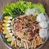 กุ้ง หอย ปู เครื่องเคียงมาครบด้วยน้ำปลาร้าสุดนัว