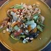 ตำแตงปูปลาร้าไข่เค็มหมูยอแคบหมู