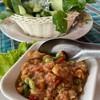 น้ำพริกกะปิกุ้งสด เสริฟพร้อมผักสด (น้ำพริกน้อยไปนิด) รสจัดจ้านตามสไตล์อาหารใต้