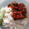 ปลากะพงขาวทอดคั่วพริกเกลือราดข้าว##1