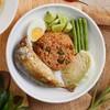 ข้าวผัดน้ำพริกปลาทู+น้ำแกงฟัก