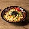 Pan fried udon with preserved cod roe, squid and vegetables