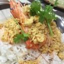 ข้าวกุ้งราดซอสมันปู