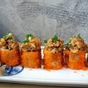 Crispy Salmon Skin Roll + Spicy Wasabi Sauce (280฿)