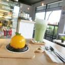 เมนูของวันนี้ เค้กส้มไส้ไหล และชาเขียวเย็น หอมละมุนกลิ่นชาเขียวแท้ๆค่ะ!!!
