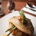 """Grilled Seabass & smoked salmon"" (350.-)"