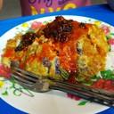 ข้าวไข่เจียวราดซอสพริกกับพริกเผาโรยพริกไทย