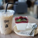 Ice Latte Coffee + Mixed Berry Panna Cotta
