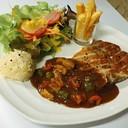 Porkchop Steak With Black Pepper Sauce.