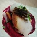ปลาหิมะย่างซอสบีทรูทและโฟมยูสุ อร่อยมาก