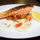 Grilled Norwegian Salmon (160 grams) Caponata White Wine Sauce