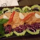 ยำแซลมอนน้ำปลา (150 บาท)