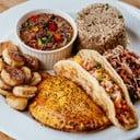 Choose meat pie, meat roti, coleslaw, rice & beans, Caribbean banana.