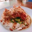 Crispy pork with roast pork rice