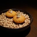 chickpea pillow and crab  snack from tasting