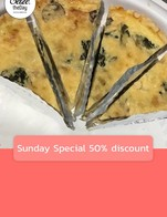 โปรโมชั่น Sunday Special 50% discount ลด 50 % เมื่อสั่งเมนู เค๊กมะพร้าวอ่อน, มาร์เบิ้ลเค๊ก, เค็กกล้วยหอม วีแกน, เครป ราดหน้าซ๊อสสตรอเบอรี่และราสเบอรี่, มินิ เลมอน อัลมอนด์ เค๊ก, Vegan chocolate pudding, Quiche Mushroom & Spinach, Panna Cotta Raspberry , เค๊กกล้วยหอม ครีมชีส, Vegan Strawberry Granola Bar, Apple Crumble, สตรอเบอรี่ครัมเบิ้ลทาร์ต, Blueberry muffin, เค๊กแครอท หน้าครีมชีส, Banoffee pie, Raspberry Mille Crepe, เค๊กชอคโกแลต, สโตลเลน, ทีรามิสุ