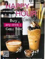ว้าวววววโปรHappy Hour Every Day ซื้อเครื่องดื่ม 1 ฟรี 1 ช่วงเวลา 09.00-12.00 และ 14.00-17.00 น. ห้ามพลาดนะทุกคน!