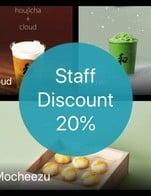 โปรโมชั่น Staff Discount 20%  ลด 20 % เมื่อสั่งเมนูในหมวด Yoghurt, Single Set , Chocolate, Coffee, Gongfu, Matcha, Wild Honey , Snacks, Yoghurt, Extremist, Ginger, Hongcha, Koicha Cream, Houjicha, Zongzi, Oolong Tea, Yuzu, Special Traditional tea